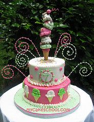 Learn to make a tall ice cream cone cake topper for your cakes! Perfect for summer days and ice cream parties! Ice Cream Cone Cake, Ice Cream Theme, Ice Cream Party, Pretty Cakes, Cute Cakes, Beautiful Cakes, Amazing Cakes, Mantecaditos, Fancy Cakes