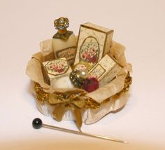 Ladys round roses vanity box OOAK Dollhouse scale by Scarletts45