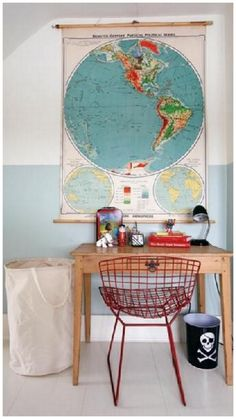 I like the map over desk area! boy's rooms - modern red wire chair canvas laundry bag rustic desk world map art black desk lamp white black skull garbage. can blue two tone walls white washed floors boy's room. Childrens Room Decor, Kids Decor, Boy Decor, Decor Ideas, Wall Decor, White Washed Floors, Casa Kids, World Map Art, Rustic Desk