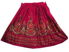 Hippie Boho Pink Short Sequin Skirt Peasant Skirt Gypsy Skirt Mini Skirt