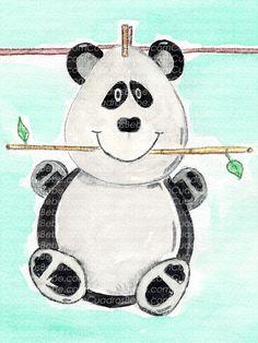 Cuadro bebe oso panda con bambú de peluche, pintado a mano con pintura y acuarela, para la habitación o cuarto de los más pequeños de la casa