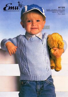 """baby knitting pattern PDF baby sweater knitting pattern baby jumper knit pattern panel round neck 19-22"""" DK light worsted 8 ply by Minihobo on Etsy"""