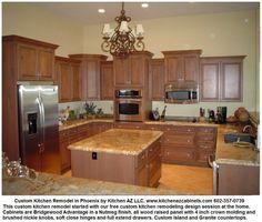 Phoenix kitchen remodel cabinets granite countertops custom island by Kitchen AZ Cabinets via slideshare
