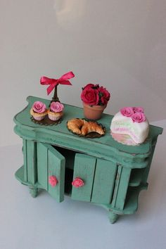 Shabby chic Paris Side Cupboard cake,eiffel tower,biscuits,cupcakes,roses-miniature dollhouse12th scale-furniture