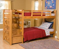 Bunk bed building plans Loft bed plans and queen bunk beds How to build modern style bunk beds inspired by Land of Nod Addison Bunk Beds Free simple Bunk Beds With Storage, Cool Bunk Beds, Bunk Beds With Stairs, Bed Storage, Bed Stairs, Storage Stairs, Storage Drawers, Adult Bunk Beds, Twin Bunk Beds