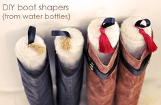 Pretty Faux Fur DIY Boot Shapers from Water Bottles