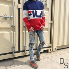 Instagram media by outfitsociety - #OutfitSociety via @hypedhaven Presents @yyyjyyyj old school vibes: Fila Sweatshirt Burj Surtr Jeans and Adidas Yeezy Boost 350