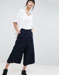 ASOS WHITE - Pantaloni con parte sovrapposta