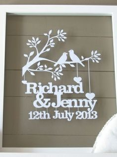 Personalised Wedding or Anniversary Birds on a Branch Papercut by Dimple Lane