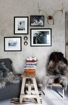 Rustic interiors with a mix of artwork on display