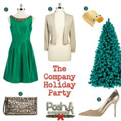 How to dress for a company work holiday party #howto #collage #Christmas #looks #holidayparty #dresses #holidaylooks  @Coach, Inc. @Jimmy Choo @Kay Unger New York @Alexis Bittar