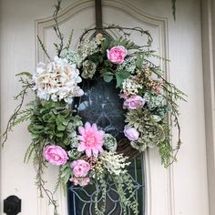Everyday wreath, spring and summer wreath, Grapevine wreath, all season wreath, wreath for front doo Pink Wreath, Hydrangea Wreath, Greenery Wreath, Hydrangea Flower, Grapevine Wreath, Flowers, Wreaths For Front Door, Door Wreaths, Front Porch