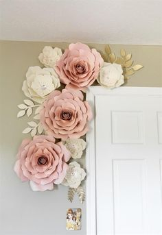 Flower wall Decoration - Blush and white paper flowers paper flower wall decor nursey wall decor backdrop wedding. White Paper Flowers, Paper Flower Wall, Diy Wall Flowers, Pink Paper, Hanging Paper Flowers, How To Make Paper Flowers, Hanging Flower Wall, Blush Flowers, Paper Wall Hanging