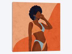 Jaz Canvas Wall Art by Reyna Noriega Simple Canvas Paintings, Small Canvas Art, Mini Canvas Art, Canvas Wall Art, Easy Canvas Art, Black Art Painting, Trippy Painting, Painting Of Girl, Black Love Art