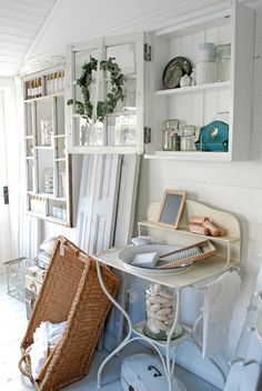 shabbi style, enamelwarewash stand, french countri, antiqu wash, decor idea