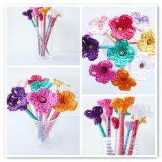 Pencil toppers - crochet flowers @funfamilycrafts