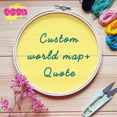 Custom world map + quote, hand embroidery & watercolour, perfect gift, unique embroidery gift Wooden Embroidery Hoops, Hand Embroidery Stitches, Calico Fabric, House Warming, Watercolour, Im Not Perfect, Great Gifts, Etsy Shop, Messages