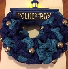 Clever design for a TARDIS wreath by Panda Jay Productions