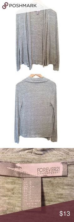 """Forever 21 Marled Gray Cardigan Gray and white marled cardigan from Forever 21, size small. Drapey front and full length sleeves. Great condition, no flaws. • Material: 95% rayon, 5% spandex • Length: 25"""", Bust: 19"""", Inseam: 20"""" Forever 21 Sweaters Cardigans"""