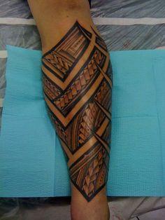 Hawaiian Tribal Calf Tattoo