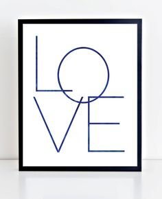 Love Print, Love Printable, Navy Blue Wall Art, Minimalist Art Print, Typography Print, Christmas Print, Modern Decor, Modern Type Poster by DuneStudio on Etsy