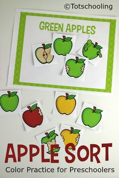 FREE Apple themed color sorting activity perfect for the Fall or Back to School for toddlers and preschoolers. Extend the activity into making Apple patterns for more preschool math fun!