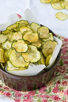 Salt and Vinegar Zucchini Chips are only 40 calories per serving and low carb too!