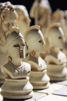 """delicatuscii-wasbella102:  """" Greek mythology chess set  """""""