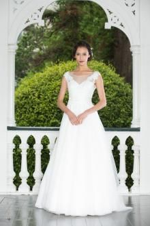 cap sleeves sheer back floor length a line tulle wedding dress
