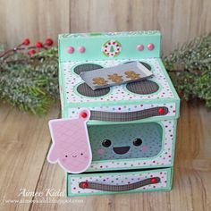 Doodlebug Milk & Cookies Christmas Oven Gift Box by Aimee Kidd Scrapbooking, Scrapbook Cards, Paper Box Template, Valentine Day Boxes, Crafts For Kids, Diy Crafts, Paper Crafts Origami, Paper Artwork, Barbie