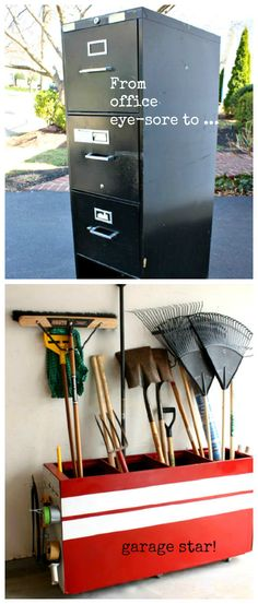 Paint an old filing cabinet, turn it on its side, and use it to store your rakes, brushes, shovels, etc. Get the full tutorial here.
