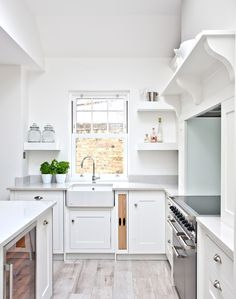 Utilize every inch of available space in the kitchen. From narrow floating shelves and tall cupboards to glazed wall units and custom-made tray compartments, a mixture of storage solutions will not only improve your kitchen's functionality, but will also inject character into an understated kitchen. VIA @theroomedit