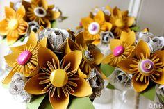 Paper Flower Bouquets (by The Little Red Button) via EmmalineBride.com