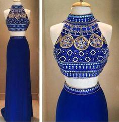 Two Piece Royal Blue Gown