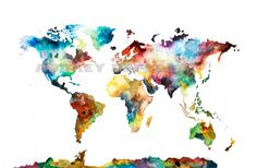 24x36 Large Watercolor Map Print World Map by AudreyDeFord on Etsy