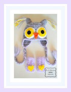 """Crochet Owl Set PDF Pattern   Häkelanleitungen - ❤ """"Eule"""" Mütze mit Handwärmer Set Häkelanleitung ❤ - ein Designerstück von DIWL-DO-IT-WITH-LOVE bei DaWanda"""