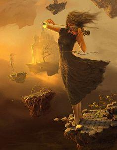"""Foto: Abbiamo tutti nel petto un violino e abbiamo perduto l'archetto per suonarlo. Alcuni lo ritrovano nei libri, altri nell'incendio di un tramonto, altri negli occhi di una persona, ma ogni volta l'archetto cade dalle mani e si perde come un filo d'erba o un sogno. La vita è la ricerca infinita di questo archetto per non sentire il silenzio che ci circonda. (Fabrizio Caramagna)  """"Opera di: Andrew Ferez"""""""