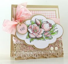 Dawn Burnworth created this beautiful card using Flourishes brand new Magnolias Stamp Set by Marcella Hawley.