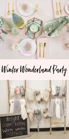 Winter Wonderland Party | When Ally turned 10 we settled on a Winter Wonderland party with ice skating, hot cocoa and a color palate of blush pink, mint green, cream and mixed metals. If you have a pre-teen birthday you're planning, you'll love these party ideas! || JennyCookies.com