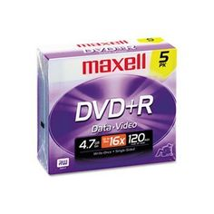 DVD+R Discs, 4.7GB, 16x, w/Jewel Cases, Silver, 5/Pack by Maxell. $6.19. Preserve memorable moments and important files