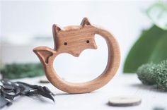 Organic Wooden Teether. Beech Teething Toy. by tinyfoxhole