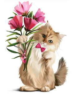 Kitten Gave Bouquet Flowers Watercolor Painting Stock Illustration 787155826 Kittens And Puppies, Cute Cats And Kittens, Kittens Cutest, Funny Animal Pictures, Cute Pictures, Kitten Images, Most Beautiful Animals, Cat Wallpaper, Cat Drawing