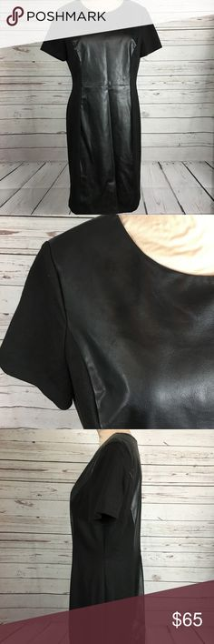 """Cato Faux Leather Panel Dress Black. Stretchy side panels. Zippered. EUC. Length is 38"""" Bust is 40"""" flat armpit to armpit. Waist is 35"""" flat at line of dress. Cato Dresses Midi"""