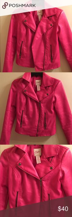 Candie's faux leather moto jacket Adorable pink jacket! Dress up or casual! Definately an eye catcher 👀 Candie's Jackets & Coats