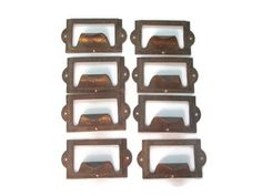 8 Vintage Industrial Drawer Pull - Small Metal Bin or Card Catalog Handles - with nails and slot for label - Apothecary