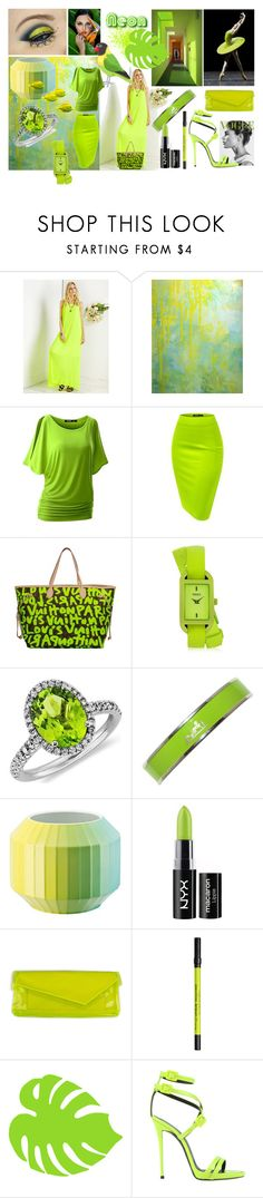 """Neon Green"" by lizzylima ❤ liked on Polyvore featuring Louis Vuitton, Versus, Blue Nile, Hermès, Rosenthal, Tokyo Rose, NYX, Urban Decay, Giuseppe Zanotti and neon"