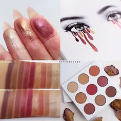 #SWATCHES  @kyliecosmetics The NEW #KyShadow  #TheBurgundyPalette  Will be available ➡️ OCTOBER 20th @ 1pm PST  I really #love this palette!! Beautiful pigmentation for the shimmery and matte shades. I feel it has the same consistency of formula as the first palette. You can definitely create many looks using this palette, from a soft, natural look to a smokey or red dramatic look  Naked (like a sandy shade) is the lightest shade in this palette and I find it an interesting shade, ...