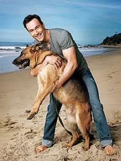 Chris Klein and his German Shepherd dog, Chief I Love Dogs, Puppy Love, Chris Klein, Celebrity Dogs, Hachiko, German Shepherd Puppies, German Shepherds, Man And Dog, Schaefer