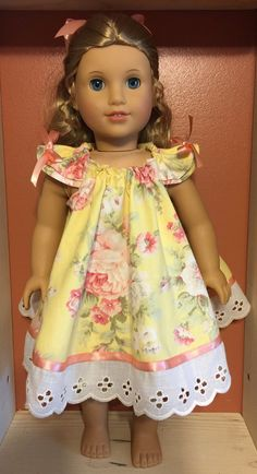 American girl or 18 pink and yellow doll swing by PerfectlyPams Sewing Doll Clothes, Girl Doll Clothes, Doll Clothes Patterns, Girl Dolls, Doll Patterns, Ag Dolls, My American Girl Doll, American Girl Crafts, American Doll Clothes