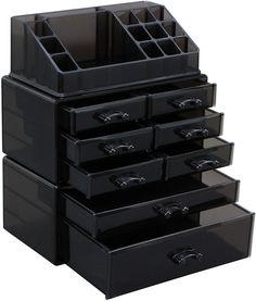 SONGMICS Makeup Organizer Cosmetic Jewelry Storage Box 3 Pieces Set Dark Tawny UJMU08B